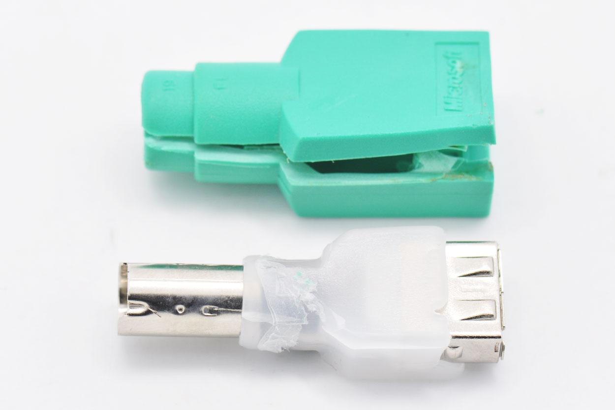 新到货一千个原装微软Microsoft PS/2 转 USB 转接头转换器 普通版USB转工控电脑用PS/2转接头