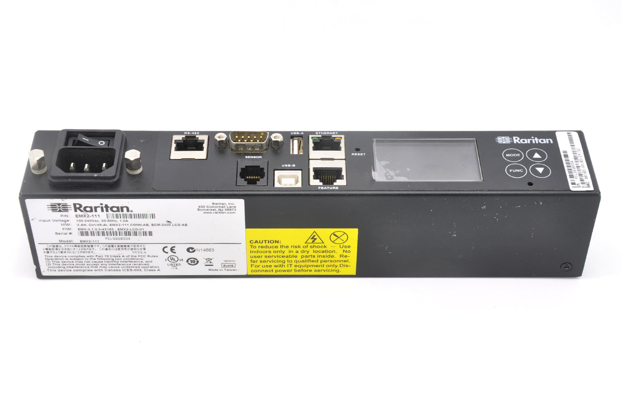 新到货15个Raritan EMX2-111 环境监测设备智能机架控制器 environment monitoring device  CONTROLLER 1XRJ12 RJ45 RS485 USB-A USB-B ETHERNET DB9